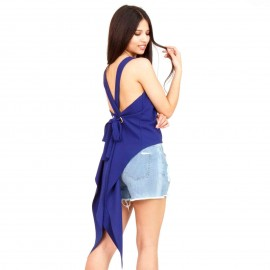 Μπλε Ρουά Ασύμμετρη Αμάνικη Μπλούζα με Ανοιχτή Πλάτη