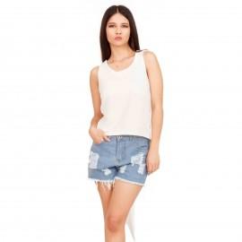 Λευκή Ασύμμετρη Αμάνικη Μπλούζα με Ανοιχτή Πλάτη