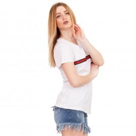 Λευκό T-Shirt με Ρίγα