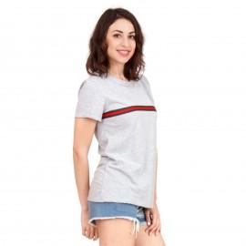 Γκρι T-Shirt με Ρίγα