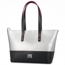 Ασημί Τσάντα Ώμου με Μαύρες Λεπτομέρειες Pierro