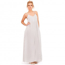 Λευκό Πουά Maxi Φόρεμα