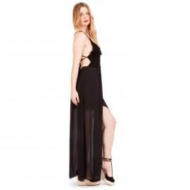 Μαύρο Maxi Φόρεμα με Δαντέλα Κιπούρ