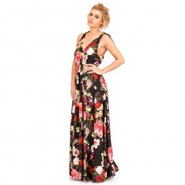 Μαύρο Φλοράλ Maxi Φόρεμα