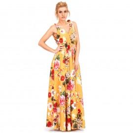 Κίτρινο Φλοράλ Maxi Φόρεμα