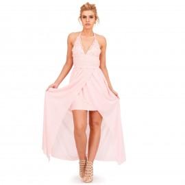 Ρόζ Maxi Φόρεμα με Δαντέλα Κιπούρ