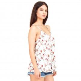 Λευκή Φλοράλ Αμάνικη Μπλούζα