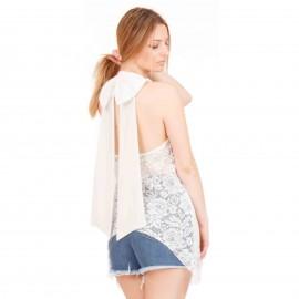 Λευκή Off Shoulder Μπλούζα με Δαντέλα Κιπούρ με Δέσιμο στο Λαιμό