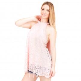 Ρόζ Off Shoulder Μπλούζα με Δαντέλα Κιπούρ με Δέσιμο στο Λαιμό
