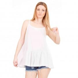 Λευκή Αμάνικη Μπλούζα με Βολάν