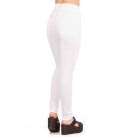 Λευκό Παντελόνι με Φερμουάρ Πίσω