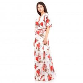 Λευκό Φλοράλ Maxi Φόρεμα με Σκίσιμο στο Πλάι και Ανοιχτή Πλάτη