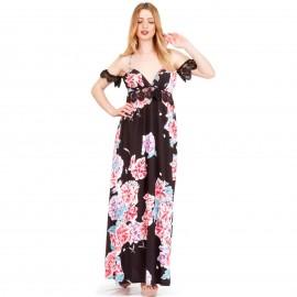 Μαύρο Φλοράλ Off - Shoulder Maxi Φόρεμα με Δαντέλα Κιπούρ