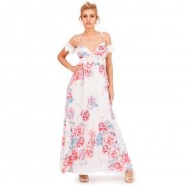 Λευκό Φλοράλ Off - Shoulder Maxi Φόρεμα με Δαντέλα Κιπούρ