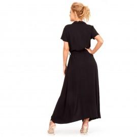 Μαύρο Κοντομάνικο Maxi Φόρεμα με Κουμπιά