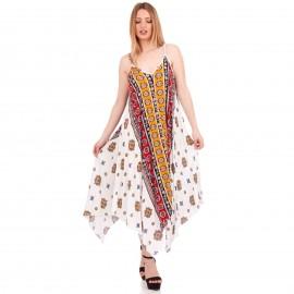 Λευκό Maxi Φόρεμα με Λαχούρια ''Boho Style''