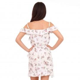 Λευκό Mini Φόρεμα με Έξω τους Ώμους και Βολάν
