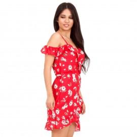 Κόκκινο Mini Φόρεμα με Έξω τους Ώμους και Βολάν