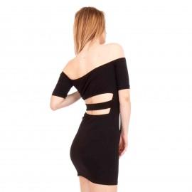 Μαύρο Strapless Mini Φόρεμα με Λωρίδες στην Πλάτη