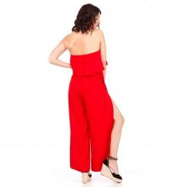 Κόκκινη Strapless Ολόσωμη Φόρμα με Βολάν και Σκίσιμο στο Πλάι