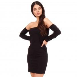 Μαύρο Mini Strapless Φόρεμα