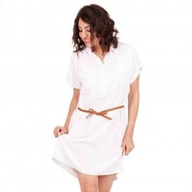 Λευκό Midi Φόρεμα με Καφέ Ζωνάκι