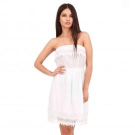 Λευκό Midi Φόρεμα Strapless με Δαντέλα Κιπούρ