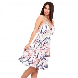 Λευκό Φλοράλ Midi Φόρεμα με Δαντέλα Κιπούρ και Ανοιχτή Πλάτη
