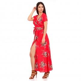 Κόκκινο Φλοράλ Maxi Φόρεμα με Σκίσιμο στο Πλάι και Ανοιχτή Πλάτη