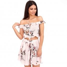 Ρόζ Σετ Mini Φούστα και Τοπάκι με Βολάν