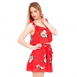 Κόκκινο Σετ Mini Φούστα και Τοπάκι με Βολάν