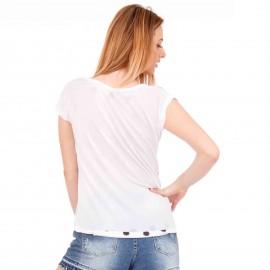 Λευκό Πουά T-Shirt με Στάμπα