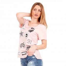 Ρόζ Μπλουζάκι με Στάμπες