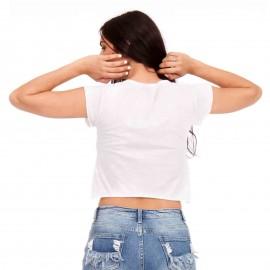 Λευκό Cropped T-Shirt με Στάμπα