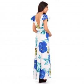 Λευκό Φλοράλ Maxi Φόρεμα με Ανοιχτή Πλάτη