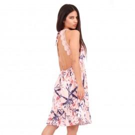 Ρόζ Φλοράλ Midi Φόρεμα με Δαντέλα Κιπούρ και Ανοιχτή Πλάτη