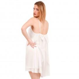 Λευκό Mini Φόρεμα με Φιόγκο