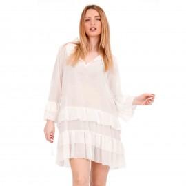 Λευκό Mini Φόρεμα με Βολάν