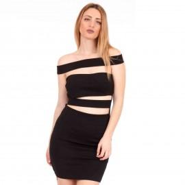 Μαύρο Strapless Mini Φόρεμα με Λωρίδες