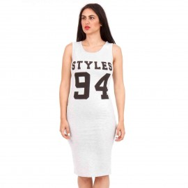 Γκρι Midi Φόρεμα με Γράμματα