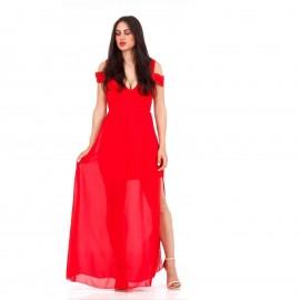 Κόκκινο Maxi Φόρεμα με C - Throu Λεπτομέρειες και Ανοιχτή Πλάτη