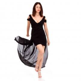 Μαύρο Maxi Φόρεμα με C - Throu Λεπτομέρειες και Ανοιχτή Πλάτη