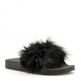 Μαύρα Fluffy Sliders
