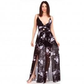 Μαύρο Φλοράλ Maxi Φόρεμα με Εσωτερικό Σορτς και Σκισίματα στο Πλάι