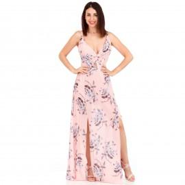 Ρόζ Φλοράλ Maxi Φόρεμα με Εσωτερικό Σορτς και Σκισίματα στο Πλάι