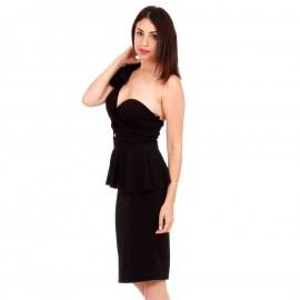 Μαύρο One Shoulder Midi Φόρεμα