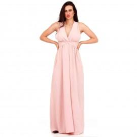 Ροζ Πολυμορφικό Maxi Φόρεμα με Χιαστί Πλάτη