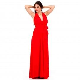 Κόκκινο Πολυμορφικό Maxi Φόρεμα με Χιαστί Πλάτη