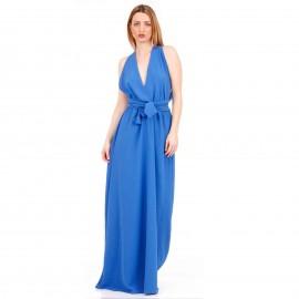 Μπλε Ρουά Πολυμορφικό Maxi Φόρεμα με Χιαστί Πλάτη