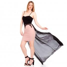 Μαύρο - Ρόζ Mini Φόρεμα με Δαντέλα και C - Throu Λεπτομέρειες
